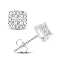 14K 0.25CT Princess Cut Diamond Earring